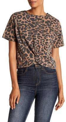 RD Style Leopard Print Front Knot Tee