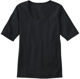 L.L. Bean L.L.Bean Women's Pima Cotton Tee, Elbow-Sleeve Scoopneck