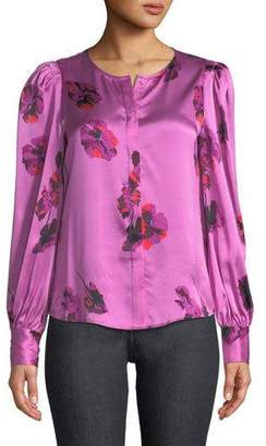 Joie Antonela Button-Front Long-Sleeve Floral-Print Satin Top