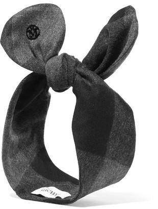 Calie Plaid Flannel Headband - Gray