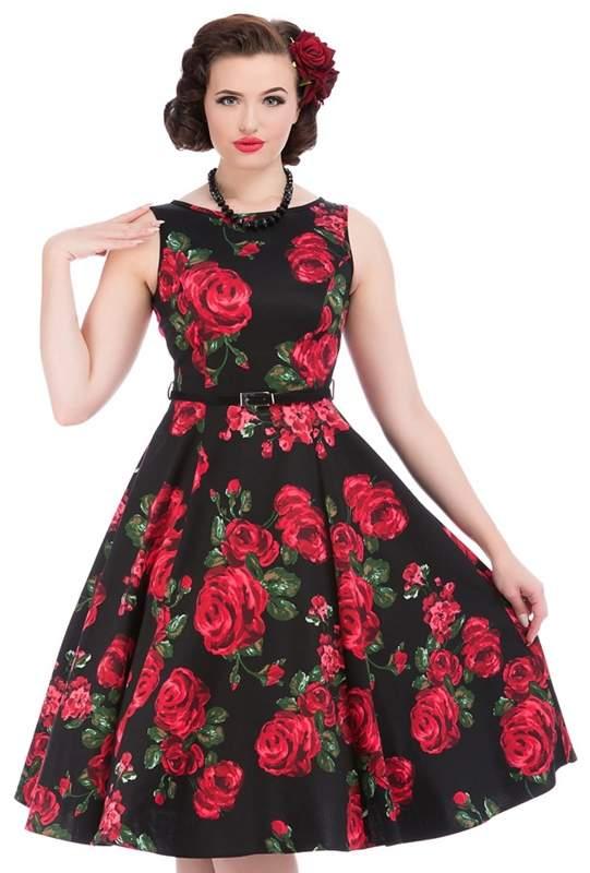 Lady Vintage - Black Rose & Leaf Hepburn Dress