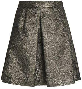 Brunello Cucinelli Pleated Metallic Cloqué Mini Skirt