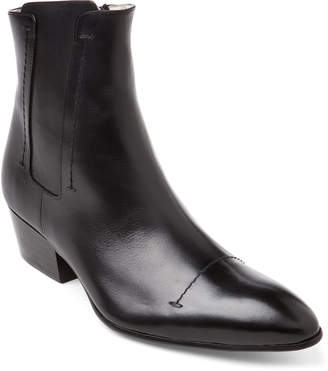 Rochas Black Leather Western Ankle Boots