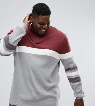 Asos PLUS Ribbed Half Zip Sweater In Burgundy And Charcoal