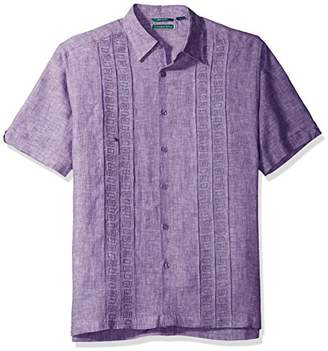 Cubavera Men's Short Sleeve 100% Linen Cross-Dyed Shirt with Embroidered Tucks
