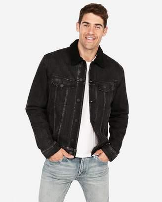Express Blanket Lined Sherpa Collar Black Denim Jacket