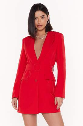 Nasty Gal Womens Never Too Busy Belted Blazer Dress - Red - L