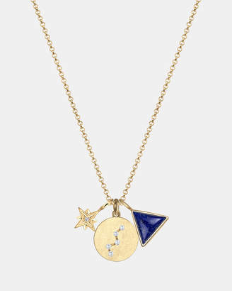 Lapis Necklace Astro Star Lazuli Cassiopeia 925 Sterling Silver Gold Plated
