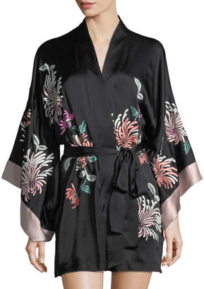 Josie Natori Chrysanthemum Embroidered Silk Robe