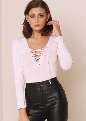 Missy Empire Missyempire Sara Baby Pink Lace Up Bodysuit da4eab0df