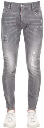 DSQUARED2 17cm Tidy Biker Grey Cotton Denim Jeans