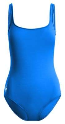 Ralph Lauren Scoopback One-Piece Swimsuit French Blue Xs