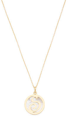 Made In Italy 14k Gold Plated 925 Mother Of Pearl Initial Necklace