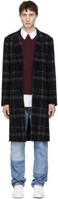 John Elliott Navy and Back Plaid Scarlet Overcoat