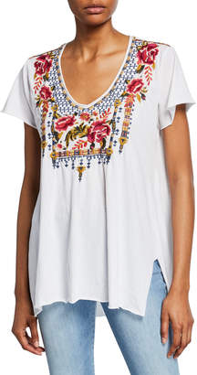 Johnny Was Axton Floral Embroidered Drape Top