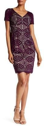 NUE by Shani Lace Overlay V-Neck Dress