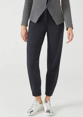 Emporio Armani Trousers In Plain Knit Fabric With Side Zips On The Legs