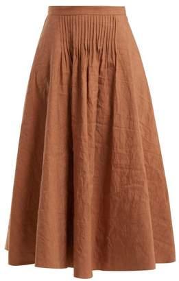Roksanda Ayana Pintuck Detail Linen Blend Skirt - Womens - Brown