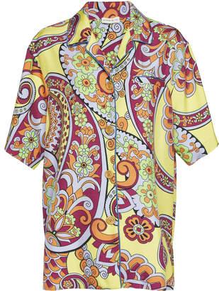 Etro Printed Satin Short-Sleeve Shirt