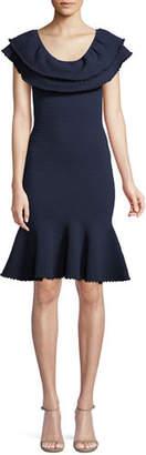 Milly Textured Flounce Sheath Dress