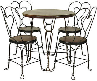 One Kings Lane Vintage Ice Cream Parlor Set - Table/Four Chairs - The Barn at 17 Antiques