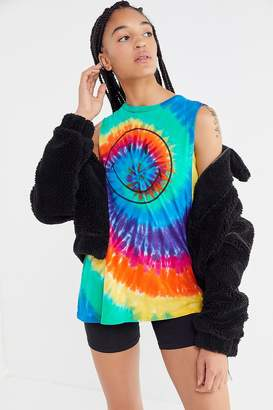 Urban Outfitters Smiley Rainbow Tie-Dye Muscle Tank Top