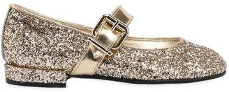 Simonetta Glittered Leather Ballerina Flats