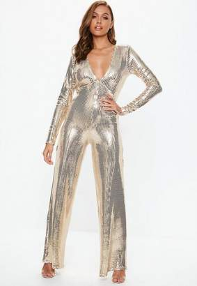 Missguided Gold Plunge Sequin Romper