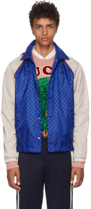 Gucci Blue & Beige Jacquard GG Jacket