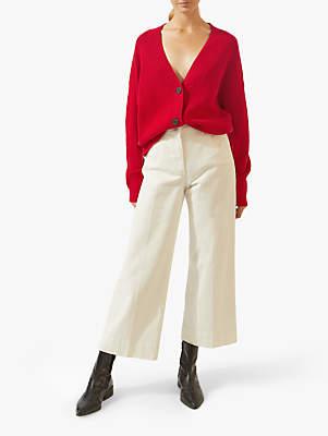 Jigsaw Slouchy Rib Textured Cardigan, Poppy