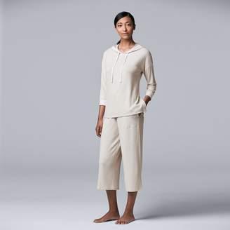 Vera Wang Women's Simply Vera Hooded Sleep Top & Pajama Culotte Set