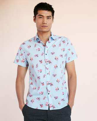 Express Slim Surfboard Short Sleeve Cotton Shirt