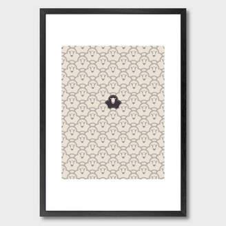 Monde Mosaic Black Sheep Art Print