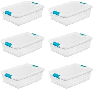 clear Sterilite 32-Quart Stackable Latching Storage Box Container, 6 Pack   1496