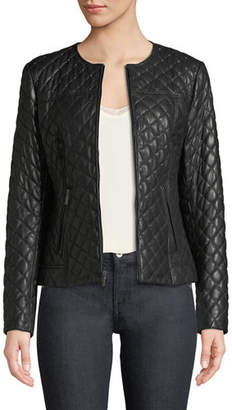 Neiman Marcus Leather Collection Quilted Short Leather Moto Jacket w/ Stud Trim