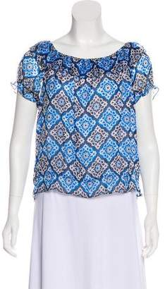 Milly Silk Mosaic Print Top