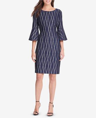 Jessica Howard Bell-Sleeve Metallic-Print Dress