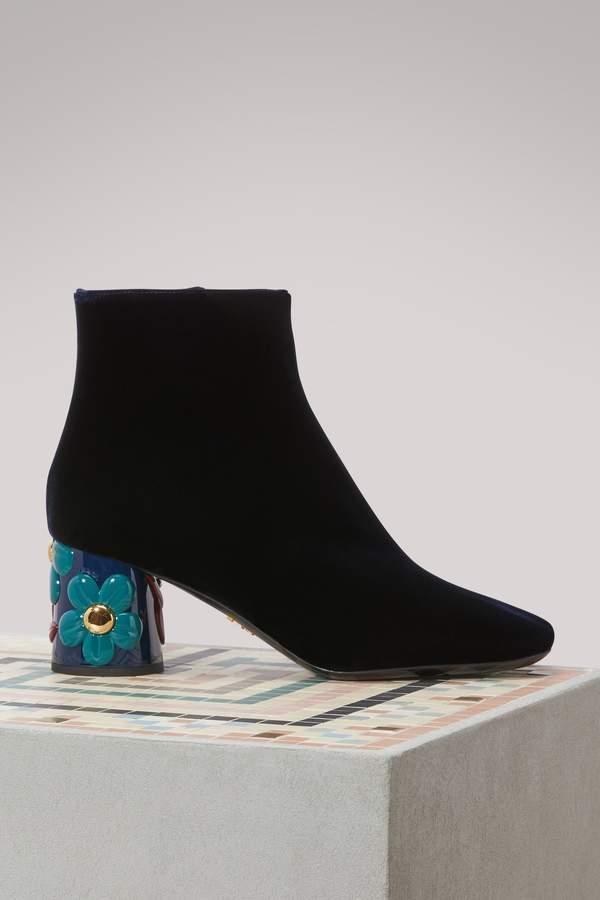 Prada Floral Heeled Boots