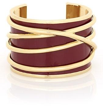 Belle Noel by Kim Kardashian Burgundy Enameled Gold Thread Cuff-SALE!!