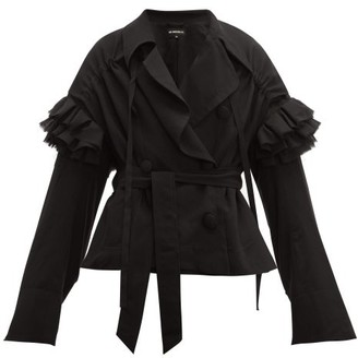 Ann Demeulemeester Ruffle Trim Wrap Front Wool Jacket - Womens - Black