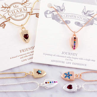 J&S Jewellery Crystal Charm Necklace On Gift Card
