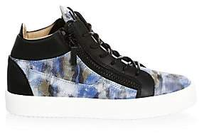 Giuseppe Zanotti Men's Leather Camouflage High-Top Sneakers