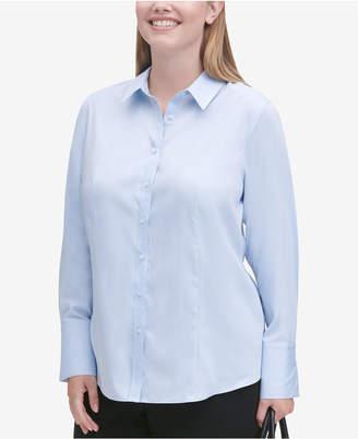 Calvin Klein Plus Size Cotton Collared Shirt
