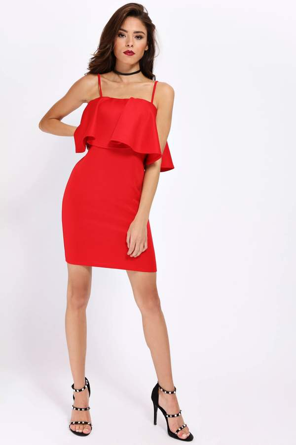 Isawitfirst Red Frill Front Strappy Bodycon Dress