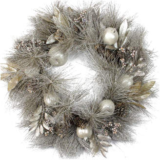 Northlight Glitter Champagne Gold Pomegranate Apple Pine Cone & Berry Christmas Wreath