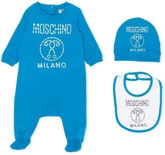 Moschino Kids stitch-effect logo print pajama, bib and hat set