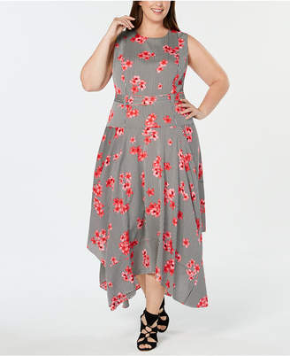 Calvin Klein Plus Size Floral-Print Handkerchief-Hem Dress