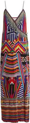 Camilla Tsachila Blessing-print silk wrap dress