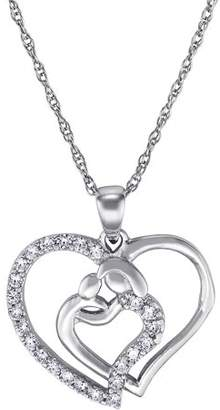 ONLINE Sterling Silver Mother's Embrace CZ Heart Necklace