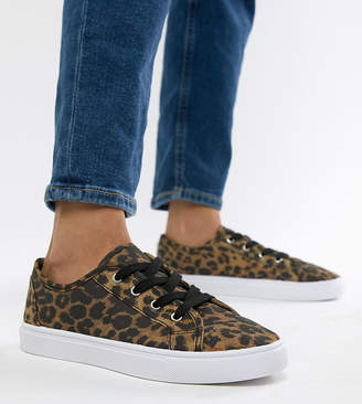 Asos DESIGN Wide Fit Daisy sneakers in leopard